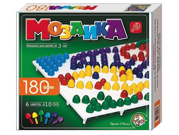 Мозаика 180 фишек 6цв, 2 поля: Для детей от 3 лет