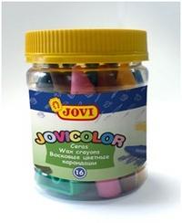 Мелки восковые 16цв Jovicolor (+ точилка, в банке)