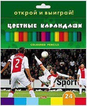 Карандаши цветные 24 цв Hatber Футбол