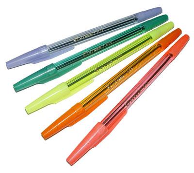 Ручка шариковая синяя прозр/кр с колпачком флуор ассорти