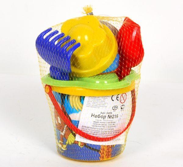 Песочница набор № 216 (ведро, ситечко, совок, грабель) пластм.