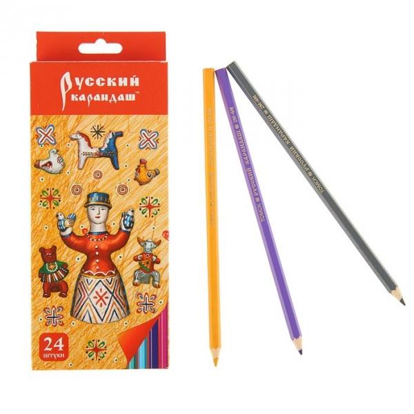 Карандаши цветные 24 цв Русский карандаш. Котенок Фольклор