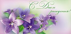 Открытка 06274-КТ С Днем рождения! конверт для денег глитер синие цветы