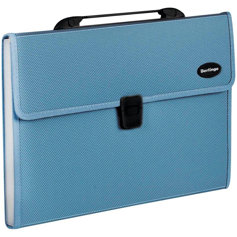 Портфель с ручкой 13отд Berlingo пластик. в пуп. синяя