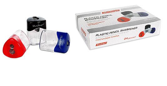 Точилка Berlingo пластик. с контейнером 2отв.