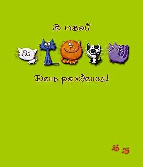 Открытка 0167.053 В твой День рождения! сред квадр кошки рисован зелен фон
