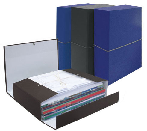 Папка архивная 110мм бумвинил с резинкой синий (короб)