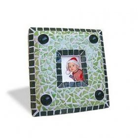 Творч Мозаика керамическая Фоторамка зеленая 14х15см