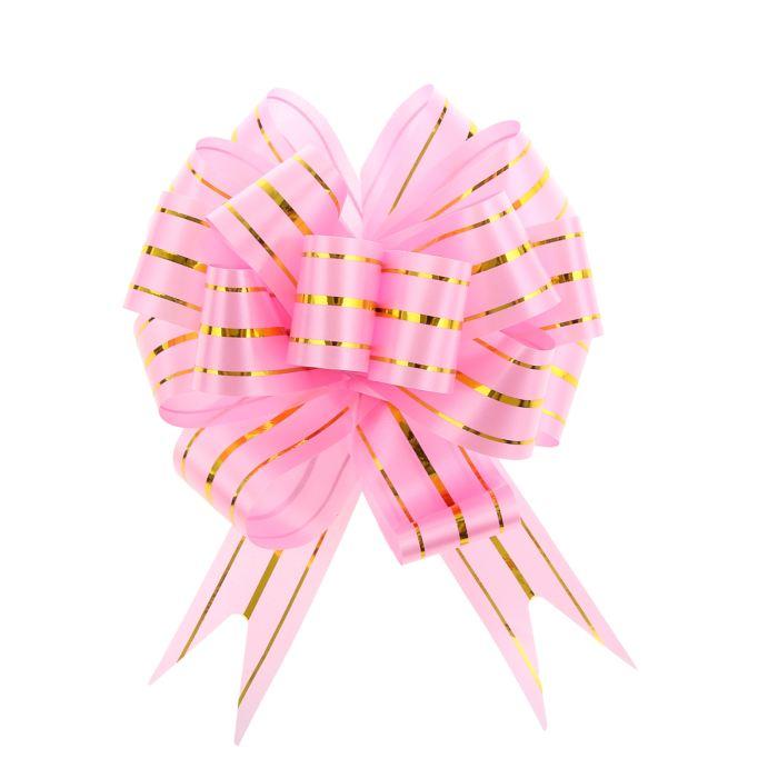 Праз Бант-шар 32мм №3 три золотых полоски Розовый