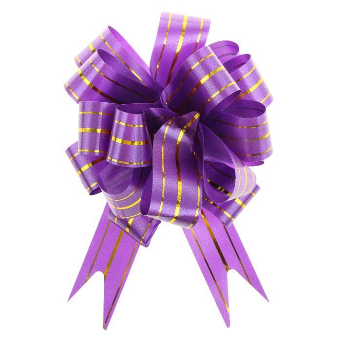 Праз Бант-шар 32мм №3 три золотых полоски Фиолетовый