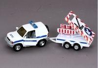 Машина Джип ДПС с прицепом и дорожными знаками метал, инерц.