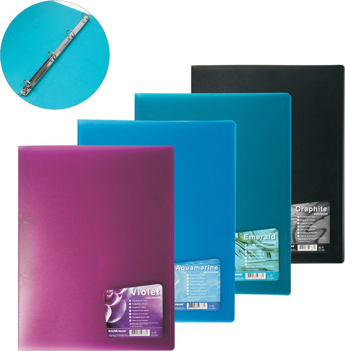 Папка с 4 кольцами 24мм EK Vivid Colors цвет в ассорт.