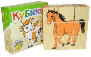Кубики 9шт деревянные Сложи рисунок: Домашние животные