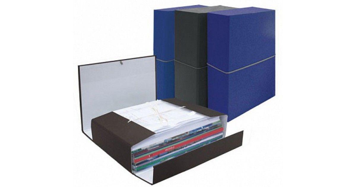 Папка архивная 80мм бумвинил на резинке син