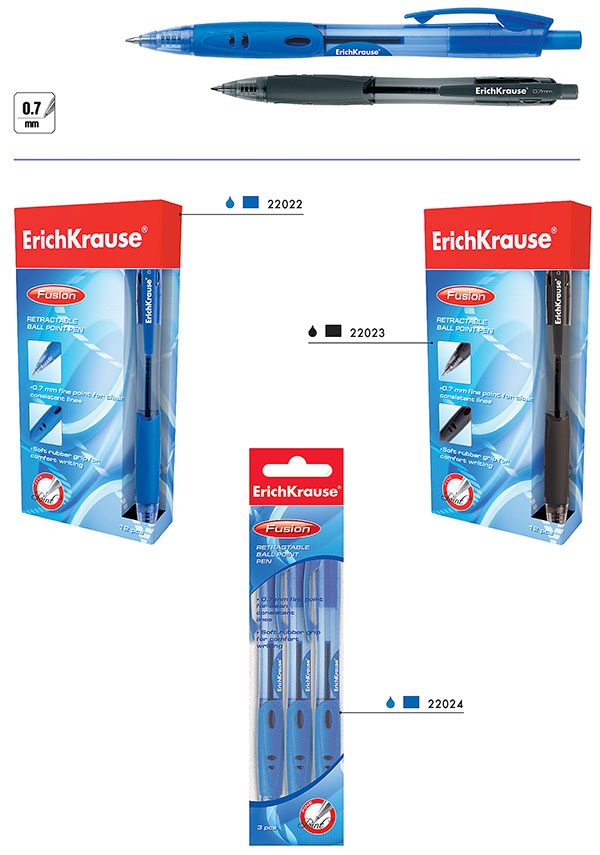 Ручка шариковая EK Fusion синяя автомат