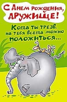 Открытка 0479.766 С Днем рождения, дружище! сред, лак, тараканы на слоне