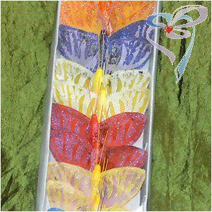 Бабочка на палочке средняя цветная тканевая зебра
