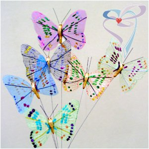 Праз Бабочка на палочке средняя цветная блестки с крапинками перьев