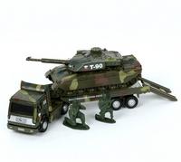 Машина Трейлер военный с танком металл.23см 1:43