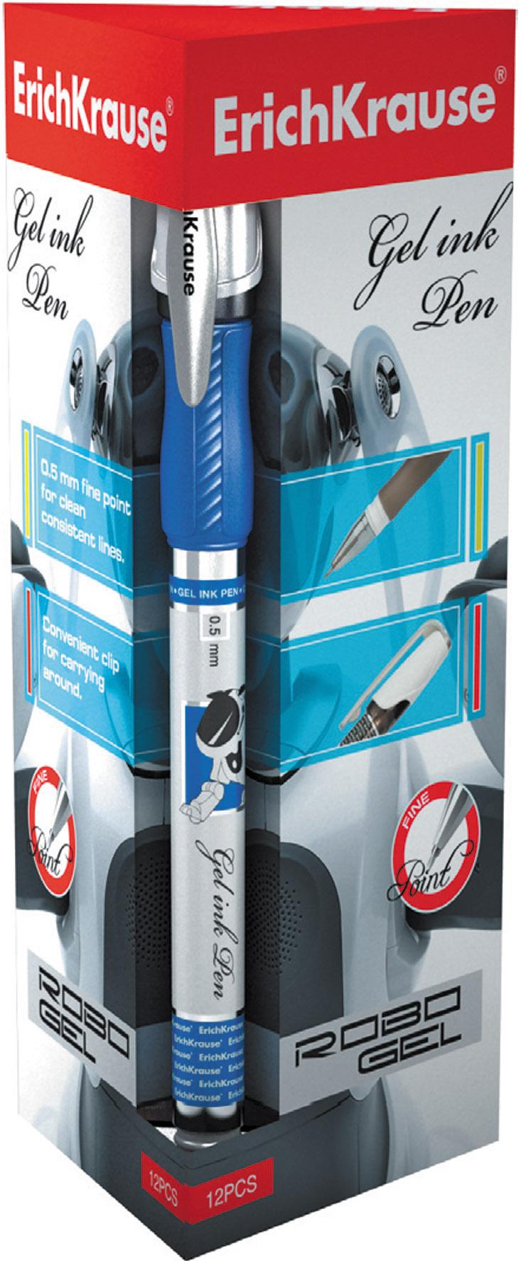 Ручка гелевая синяя EK Robogel 0.5мм резин. держ.