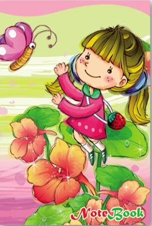 Зап. книжка А6 48л Девочка с бабочкой
