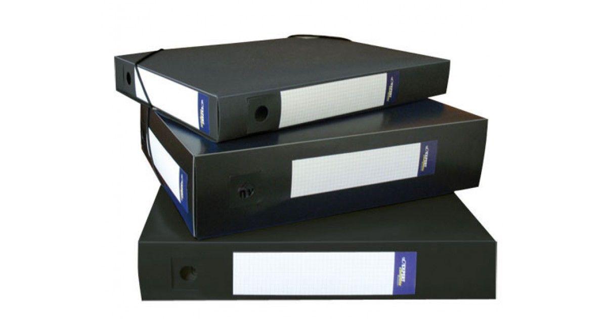 Папка архивная пластик 75мм на резинке черная