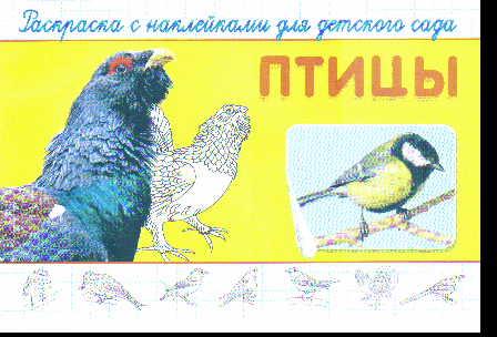 Раскраска с наклейками для детского сада. Птицы