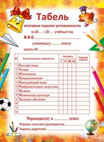 Открытка 065.648 Табель итоговых оценок успеваемости (Начальная школа)