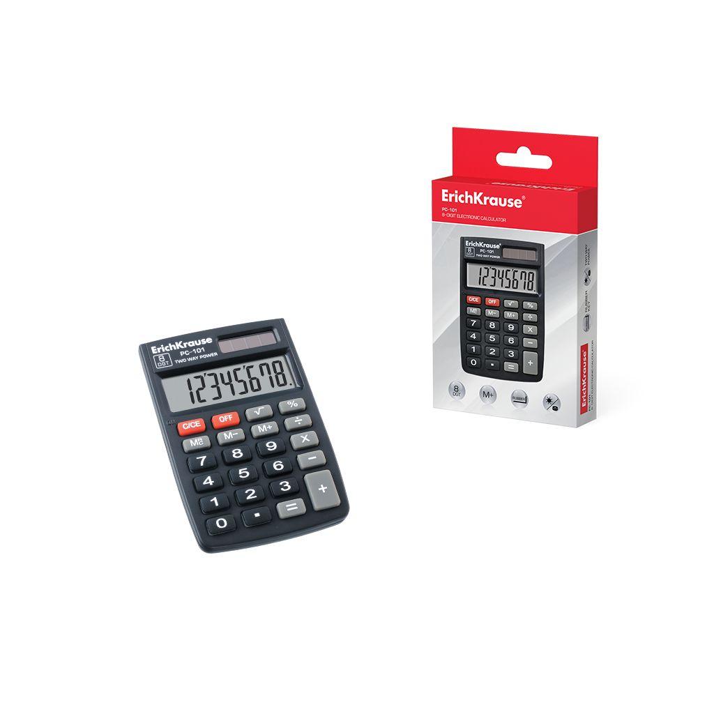 Калькулятор 8 разр. EK РС-101 черный карманный