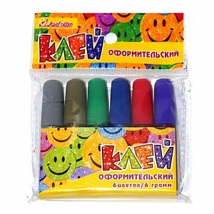 Краски-клей 6цв 6 гр с блестками