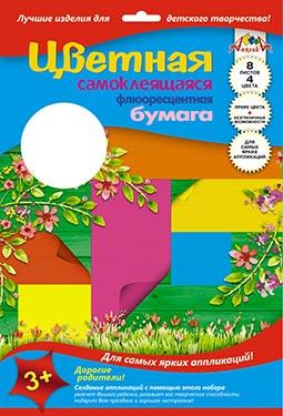 Картон цветной самокл А4 5л 5цв Цветочки в пл/блистере