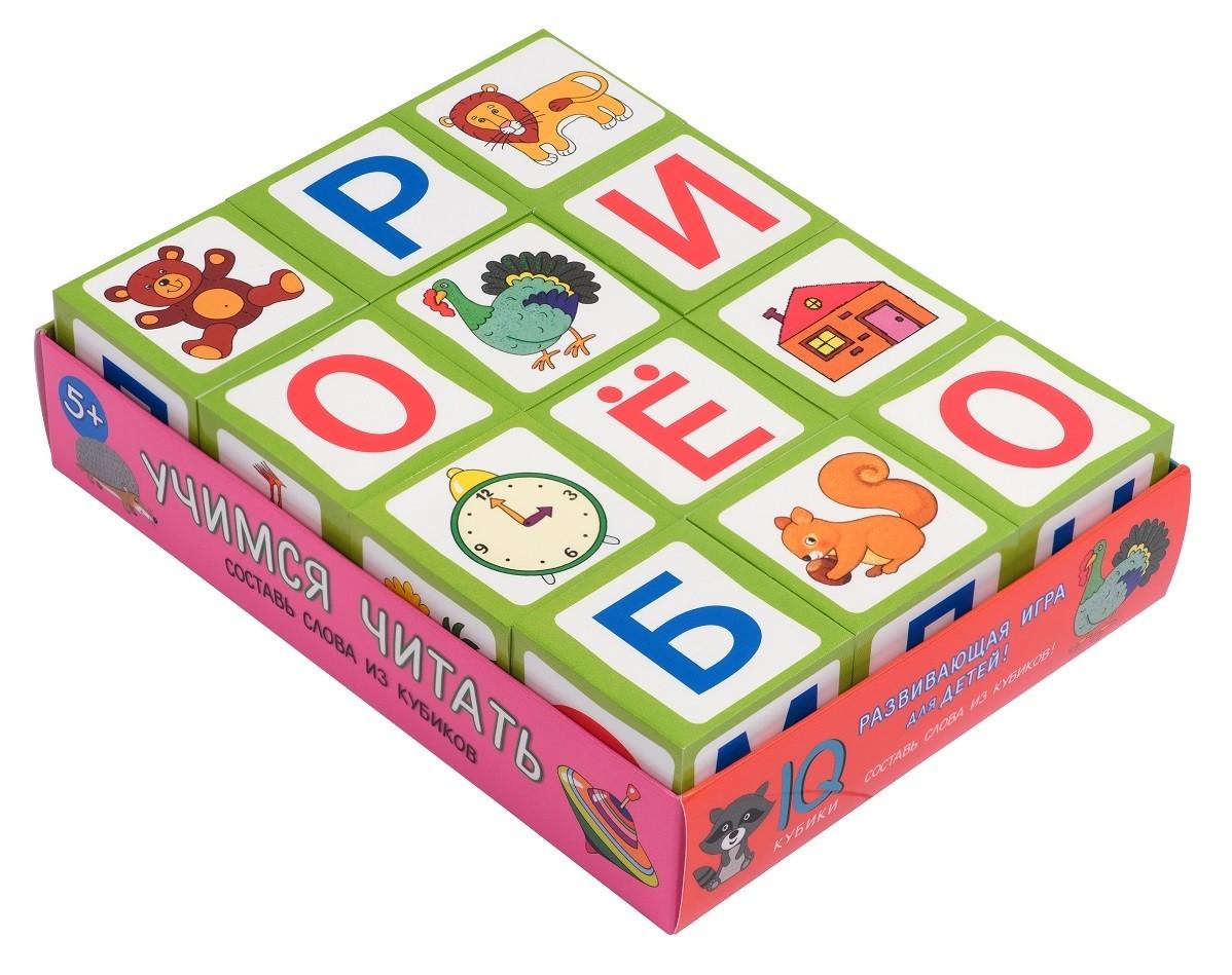 Игра Умные кубики в поддончике 12шт. Учимся читать