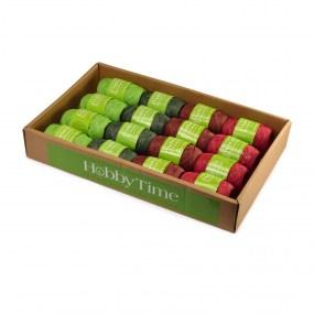 Рафия для декора бум 10м 4цв бордов., коричнев., салатов., зелен.