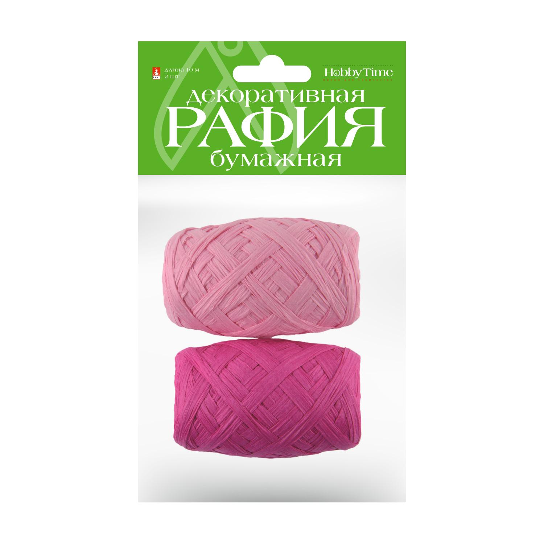 Рафия для декора бум 10м 2цв розовый/ малиновый