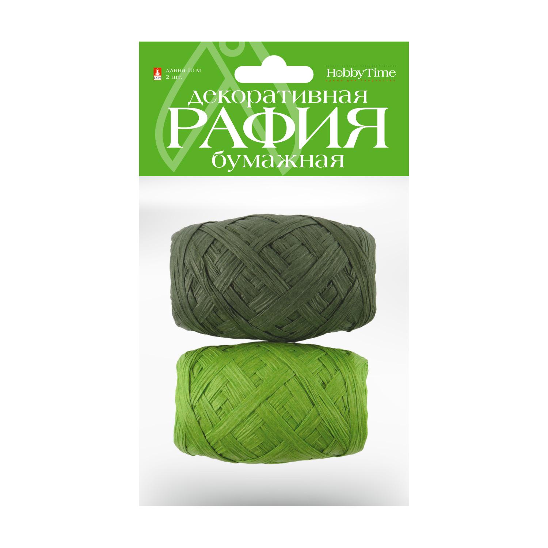 Рафия для декора бум 10м 2цв зеленый/ салатовый