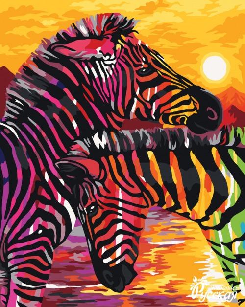 Творч Рисование по номерам 40Х50 Яркие зебры