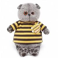 Мягконабивная BUDI BASA Басик в полосатой футболке с пчелой 25см в пода