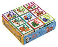 Игра Умные кубики в поддончике 9шт. Веселая азбука