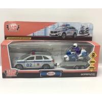 Машина Kia sorento prime Полиция 12см металл инерц. + мотоцикл 7,5см