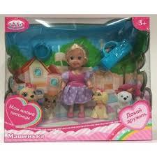 Кукла Карапуз Машенька 12см, в комплекте четыре питомца, сумочка, аксес