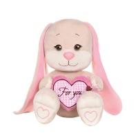 Мягконабивная Зайка Jack&Lin с Розовым Сердцем, 25 см