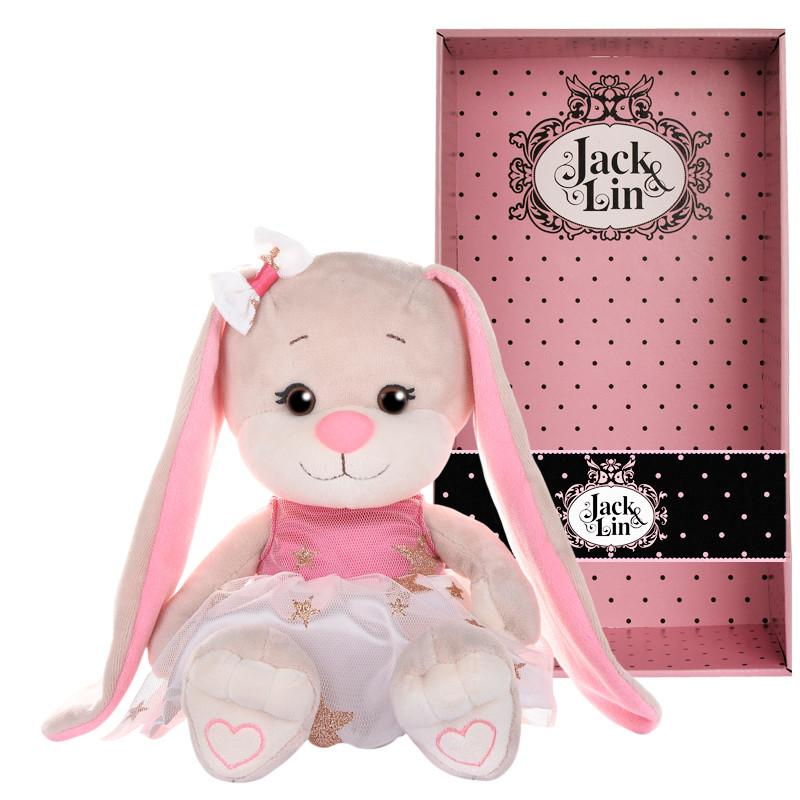 Мягконабивная Зайка Jack&Lin в Бело-Розовом Платьице со звездами 20 см