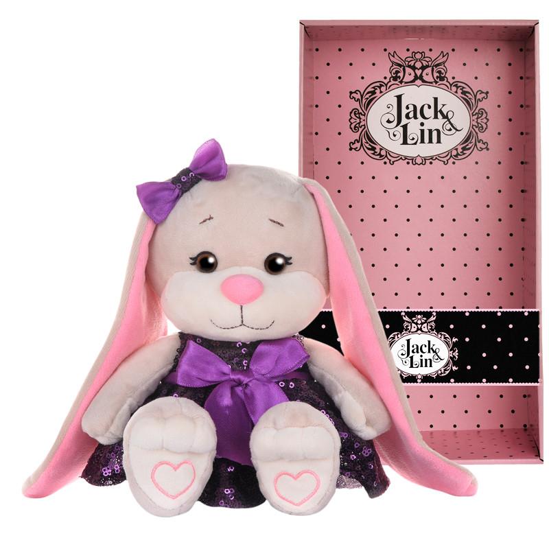 Мягконабивная Зайка Jack&Lin в Фиолетовом Платьице с Пайетками, 20 см