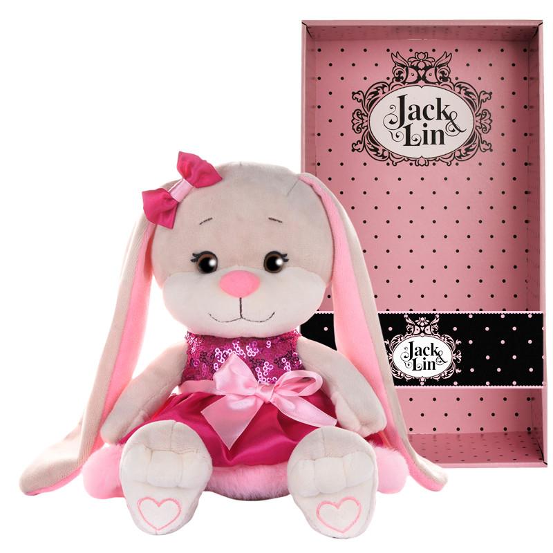 Мягконабивная Зайка Jack&Lin в Розовом Платье с Пайетками и Мехом, 20см