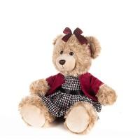 Мягконабивная Мишка Моника в Красном Жакете и Клетчатом Платье, 20 см