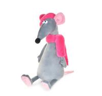 Мягконабивная Крыска Лариска в шарфе и шапке 23см