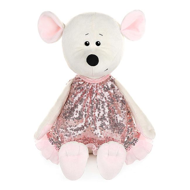 Мягконабивная Мышка Мила в Розовом Платье, 21 см