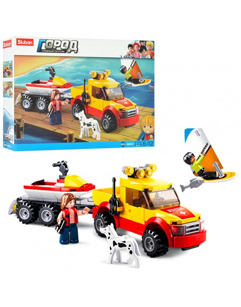 Конструктор Пляжные спасатели: Внедорожник-буксир и аквабайк 172 дет.