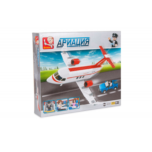 Конструктор Авиация: Самолёт (машинки, фигурки людей, 275 деталей)