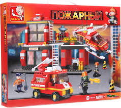 Конструктор Пожарный Дежурная часть 371дет (дом, вертолёт, пож/машина)